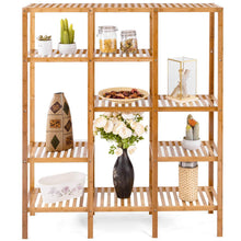 Load image into Gallery viewer, Amazon best costway multifunctional bamboo shelf bathroom rack storage organizer rack plant display stand w several cell closet storage cabinet 5 tier