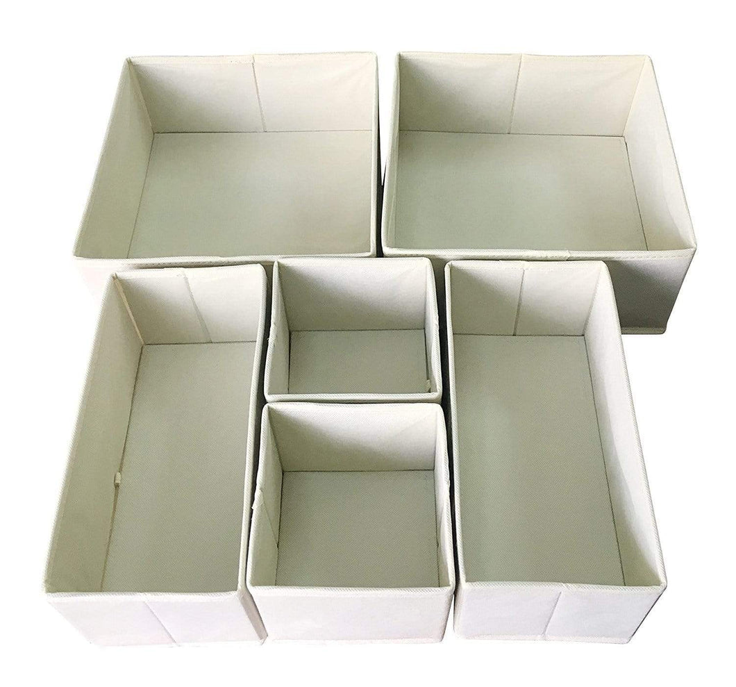 Order now sodynee fba_scd6sbe foldable cloth storage box closet dresser organizer cube basket bins containers divider with drawers for underwear bras socks ties scarves 6 pack beige