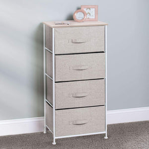Products mdesign vertical furniture storage tower sturdy steel frame wood top easy pull fabric bins organizer unit for bedroom hallway entryway closets textured print 4 drawers linen natural
