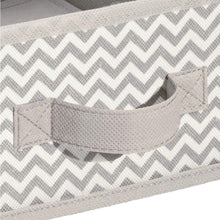 Load image into Gallery viewer, Products mdesign soft fabric over closet shelving hanging storage organizer with removable drawer for closets in bedrooms hallway entryway mudroom chevron zig zag print with solid trim taupe natural