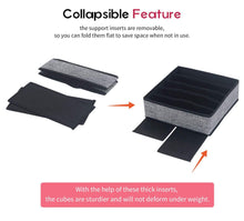 Load image into Gallery viewer, Exclusive onlyeasy closet underwear organizer drawer divider set of 4 foldable cloth storage boxes bins under bed organizer for bras socks panties ties linen like black mxass4p