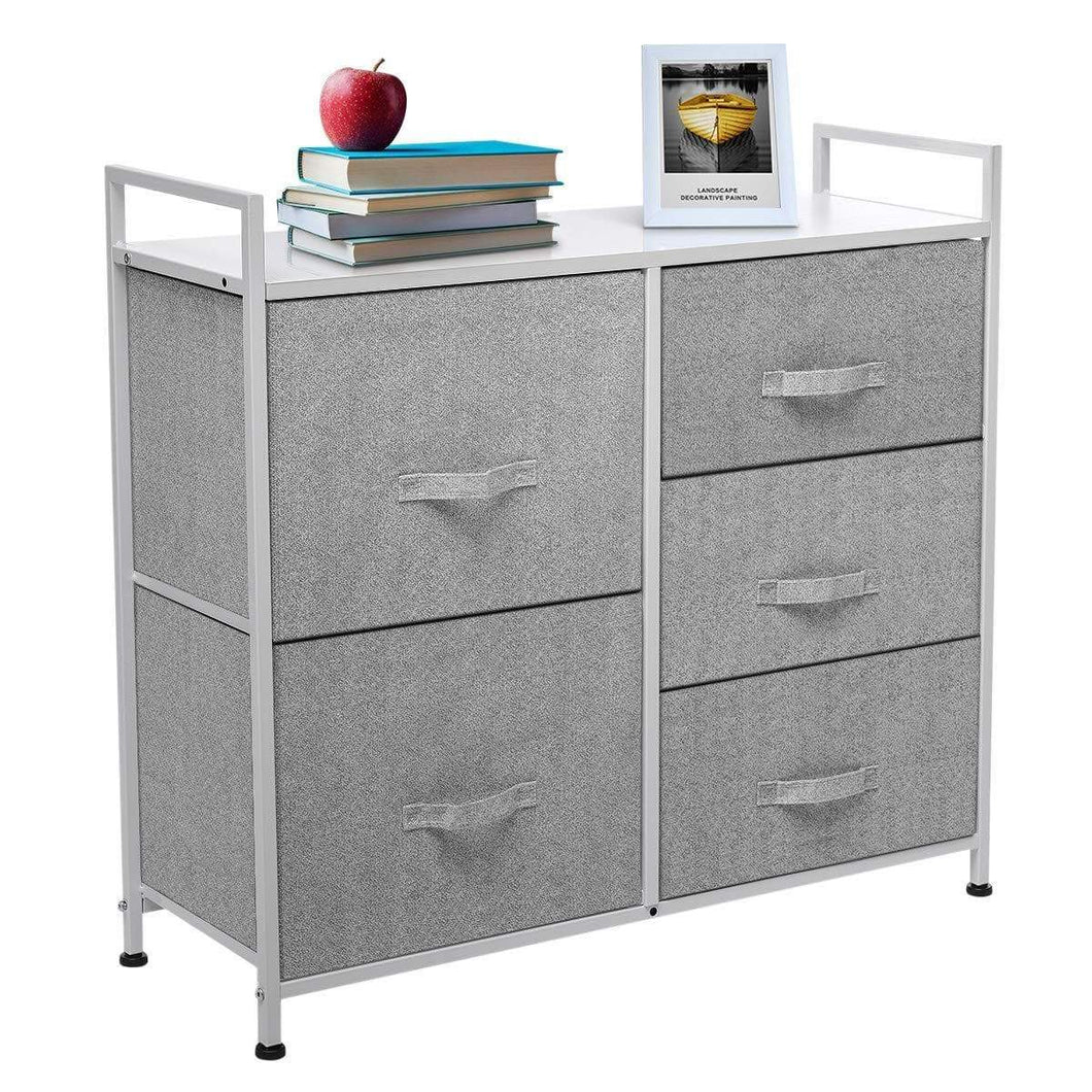 Top kingso fabric 5 drawer dresser storage tower organizer unit with sturdy steel frame and easy pull faux linen drawers for bedroom living room guest room dorm closet grey
