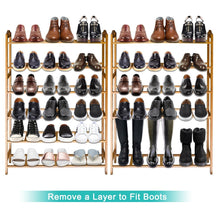 Load image into Gallery viewer, Top anko bamboo shoe rack natural bamboo thickened 6 tier mesh utility entryway shoe shelf storage organizer suitable for entryway closet living room bedroom 1 pack