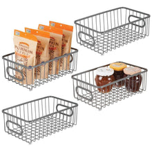 Load image into Gallery viewer, Storage mdesign metal farmhouse kitchen pantry food storage organizer basket bin wire grid design for cabinet cupboard shelves countertop closet bedroom bathroom small wide 4 pack graphite gray