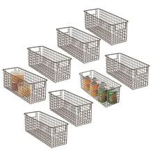 Load image into Gallery viewer, Discover mdesign farmhouse decor metal wire food storage organizer bin basket with handles for kitchen cabinets pantry bathroom laundry room closets garage 16 x 6 x 6 8 pack bronze