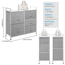 Load image into Gallery viewer, Amazon best kingso fabric 5 drawer dresser storage tower organizer unit with sturdy steel frame and easy pull faux linen drawers for bedroom living room guest room dorm closet grey