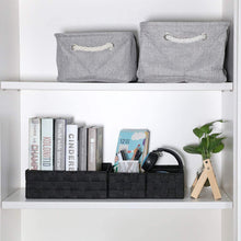 Load image into Gallery viewer, Buy kedsum woven storage box cube basket bin container tote cube organizer divider for drawer closet shelf dresser set of 4 black