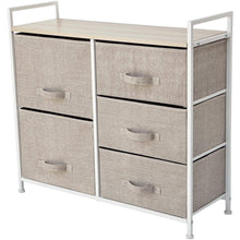Load image into Gallery viewer, Order now east loft storage cube dresser organizer for closet nursery bathroom laundry or bedroom 5 fabric drawers solid wood top durable steel frame natural