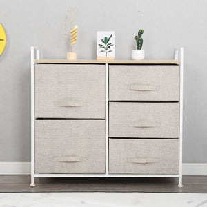 Results soges 5 drawer storage organizer unit for bedroom play room closets entryway free standing rack metal frame with fabric bin beige 107 bm