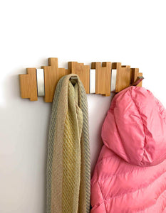 Discover the best modern wall mounted coat rack 100 natural bamboo coat and hat hooks sturdy chrome flip hooks modern and urban design for entryway hallway bathroom bedroom closet 5 hook