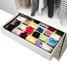 Load image into Gallery viewer, Top closet underwear storage organizer box for socks bra ties clothing lingerie underwear drawer 24 divider collapsible beige size 12 x 12 x 3 set of 2