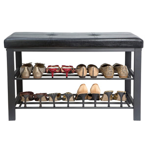 Latest simplify f 0680 black storage bench shoe rack ottoman tufted padded seating for entryway bedroom closet hallway black