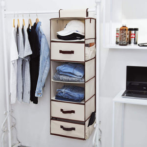 Shop for storageworks 6 shelf hanging closet organizer foldable closet hanging shelves with 2 drawers 1 underwear socks drawer 42 5h x 13 6w x 12 2d