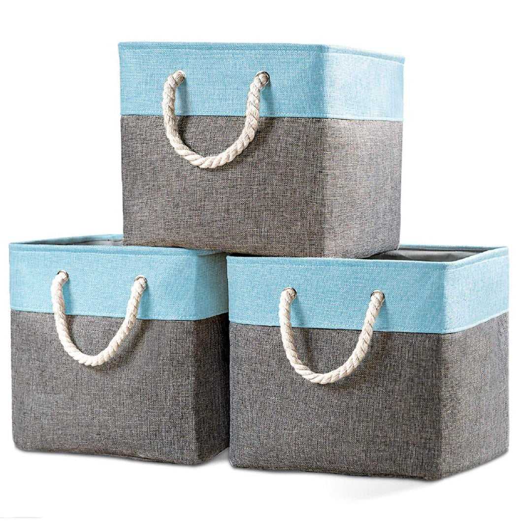 Products prandom large foldable cube storage baskets bins 13x13 inch 3 pack fabric linen collapsible storage bins cubes drawer with cotton handles organizer for shelf toy nursery closet bedroomgray blue