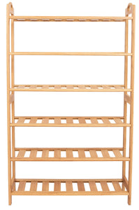 Explore birdrock home free standing bamboo shoe rack with handles 6 tier wood closets and entryway organizer fits 18 pairs of shoes