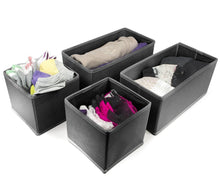 Load image into Gallery viewer, Top rated sorbus foldable storage drawer closet dresser organizer bins for underwear bras socks ties scarves accessories and more 6 piece set black