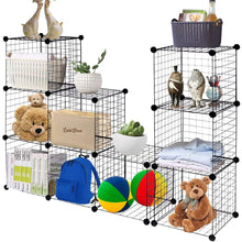 Load image into Gallery viewer, The best tangkula wire storage cubes metal wire free standing modular shelving grids diy bookcase closet wardrobe organization storage cubes 12 cubes