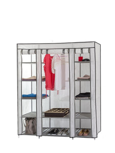 Organize with dream palace portable fabric wardrobe with shelves covered closet rack with bonus sock organizer hanger pack extra wide 59 white