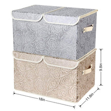 Load image into Gallery viewer, Discover 2 pack drawer organization large linen 2 sections washable storage with lids and handles foldable closet organizer for nursery closet clothes toy home office bedroom grey khaki18 x 9 8