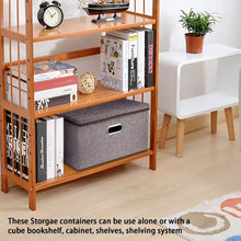 Load image into Gallery viewer, Get large linen fabric foldable storage container 2 pack with removable lid and handles storage bin box cubes organizer gray for home office nursery closet bedroom living room