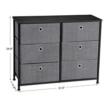 Load image into Gallery viewer, Heavy duty songmics 3 tier wide dresser storage unit with 6 easy pull fabric drawers metal frame and wooden tabletop for closet nursery hallway 31 5 x 11 8 x 24 8 inches gray ults23g