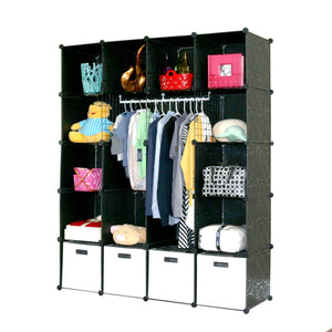 Heavy duty unicoo multi use diy plastic 20 cube organizer bookcase storage cabinet wardrobe closet black with white door deeper cube