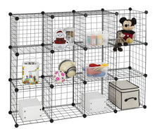 Load image into Gallery viewer, Cheap finnhomy 12 storage cubes multi use diy wire grid organizer closet organizer shelf cabinet wire grids panels garage storage rack sets shelving units for books plants toys shoes clothes black