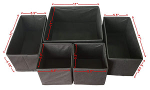 Get sodynee foldable cloth storage box closet dresser drawer organizer cube basket bins containers divider with drawers for underwear bras socks ties scarves 6 pack black