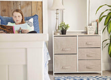 Load image into Gallery viewer, Results east loft storage cube dresser organizer for closet nursery bathroom laundry or bedroom 5 fabric drawers solid wood top durable steel frame natural