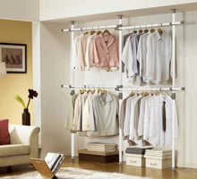 Load image into Gallery viewer, Top prince hanger one touch double 2 tier adjustable hanger holds 80kg176lb per horizontal bar clothing rack closet organizer 38mm vertical pole heavy duty garment rack phus 0033