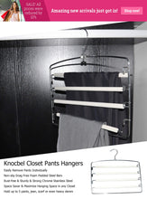 Load image into Gallery viewer, Discover the best knocbel pants clothes hanger closet organizer 4 layers non slip swing arm hangers hook rack for slacks jeans trousers skirts scarf 2 pack beige 1