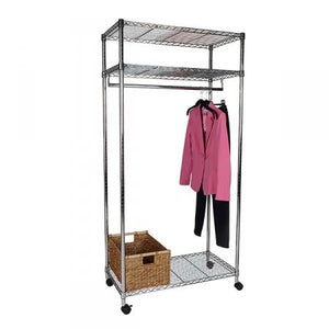 Flexible Chrome Shelving Large Wardrobe