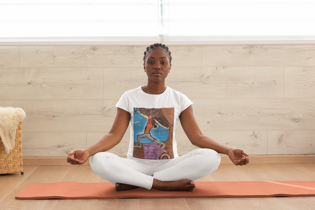 Black Woman Doing Yoga in AU All People - Warrior 2 T-shirt