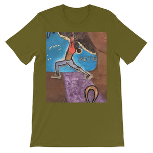 """Warrior 1"" (YOGA) All People Short Sleeve T-Shirt - Amja Art"