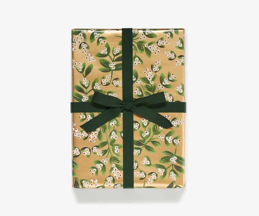 Mistletoe Gold Wrapping Paper