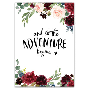 "Postkarte ""And so the adventure begins"""