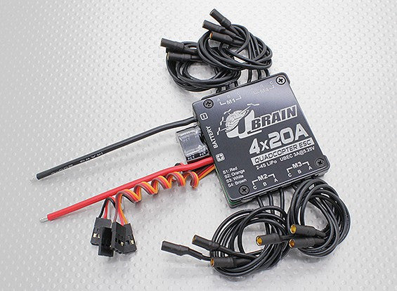 qbrain 4 x 20a brushless quadcopter esc 2 4s 3a sbec quadlugs rh quadlugs com Quadcopter ESC Wiring UAV Quadcopter Controls Wiring