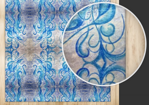 'Blue Sun' Luxury Handmade Rugs