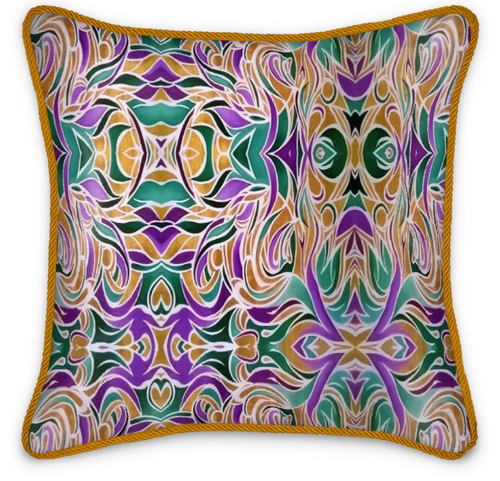 'Golden Bliss' Luxury Designer Silk Cushion