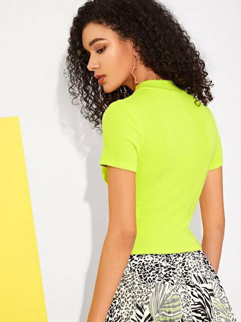 Neon Green mock neck top