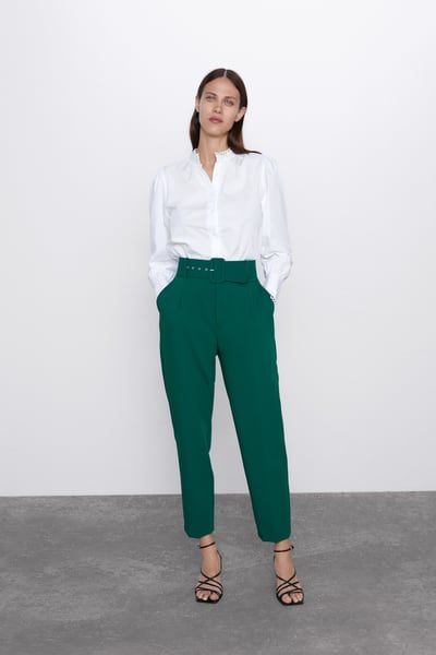 Belted eyelet pegged High Waist Trousers
