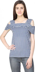 Striped Top with Cold shoulder