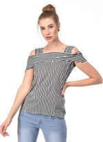 Load image into Gallery viewer, Striped Top with Cold shoulder