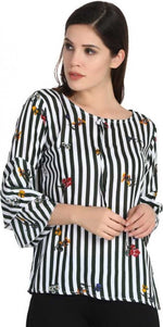 Load image into Gallery viewer, Striped top with floral patterns