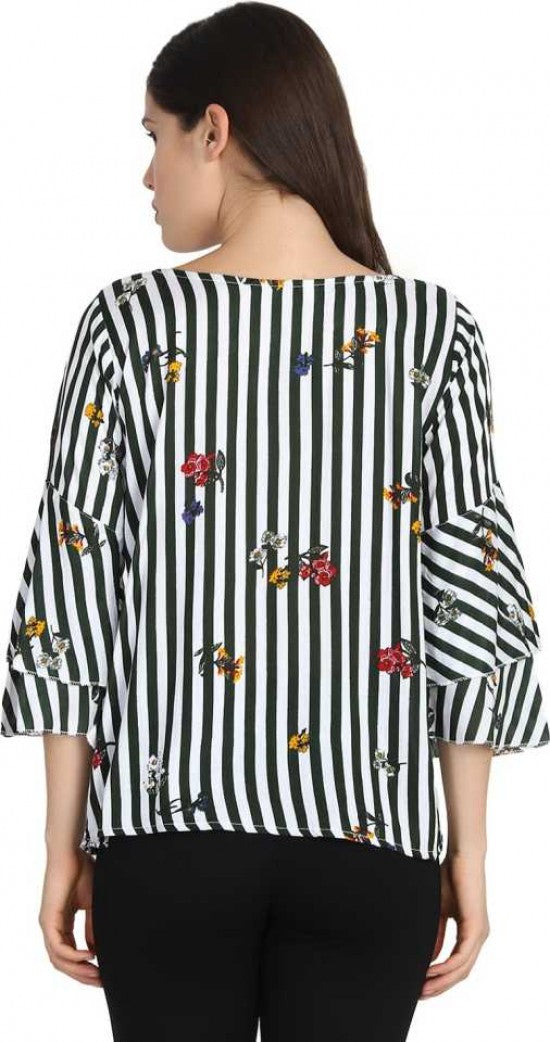 Striped top with floral patterns