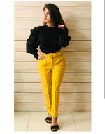 Load image into Gallery viewer, Belted eyelet pegged High Waist Trousers