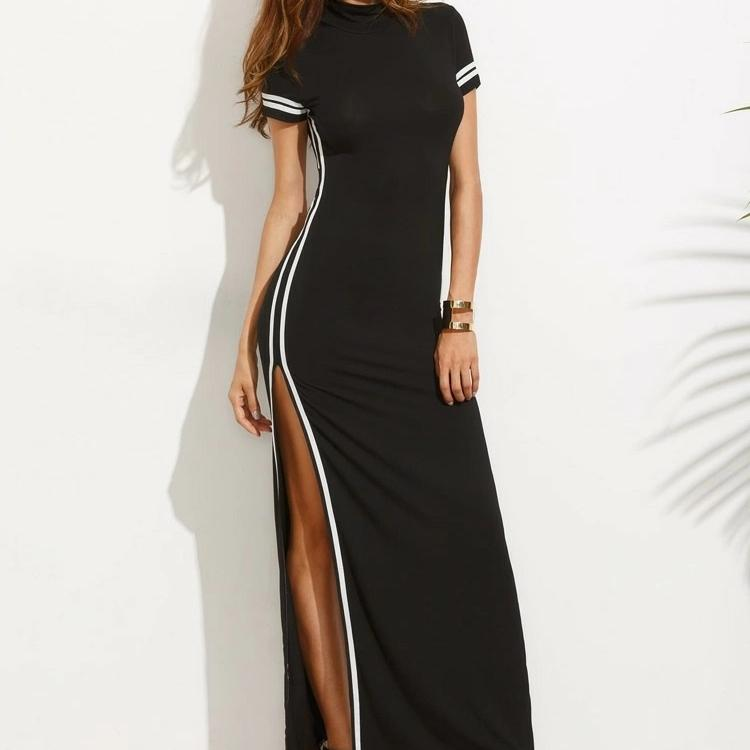 Black Striped Split Maxi Dress