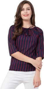 Red Striped on and off shoulder top in Navy Blue