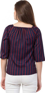 Load image into Gallery viewer, Red Striped on and off shoulder top in Navy Blue