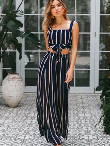 Striped padded Crop Top and pantaloons coordinated set